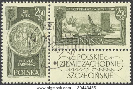 MOSCOW RUSSIA - CIRCA JANUARY 2016: a post stamp printed in POLAND shows Barnim I and Eve Quay in Szczecin the series