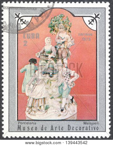 MOSCOW RUSSIA - CIRCA JANUARY 2016: a post stamp printed in CUBA shows a porcelain figure the series