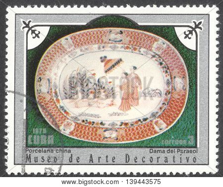 MOSCOW RUSSIA - CIRCA JANUARY 2016: a post stamp printed in CUBA shows a porcelain dish the series