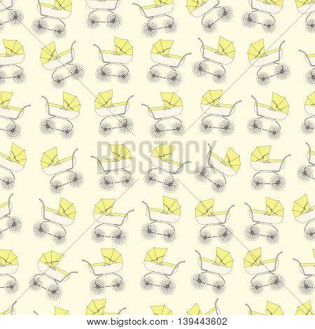 Background yellow cartoon children's stroller for a newborn baby.