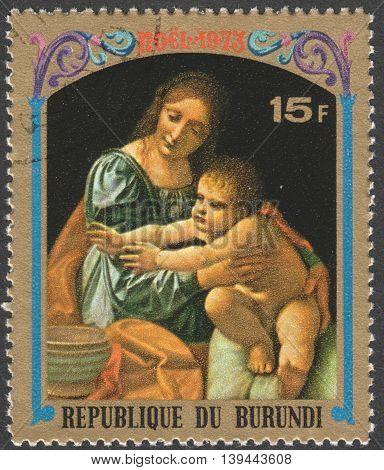 MOSCOW RUSSIA - CIRCA JANUARY 2016: a stamp printed in BURUNDIA shows painting