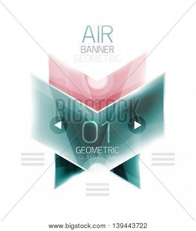 Air light glossy design of arrows. Web info box or ui menu element. Vector