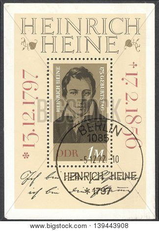 MOSCOW RUSSIA - CIRCA JANUARY 2016: a post stamp printed in DDR shows a portrait of Heinrich Heine devoted to the 175th Anniversary of the Birth of Heinrich Heine circa 1972