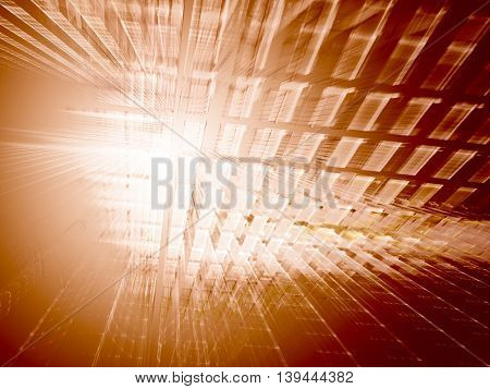 Abstract orange background element. Fractal graphics series. Three-dimensional composition of repeating transparent shapes. Information technology concept.