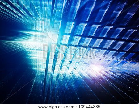 Abstract blue background element. Fractal graphics series. Three-dimensional composition of repeating transparent shapes. Information technology concept.