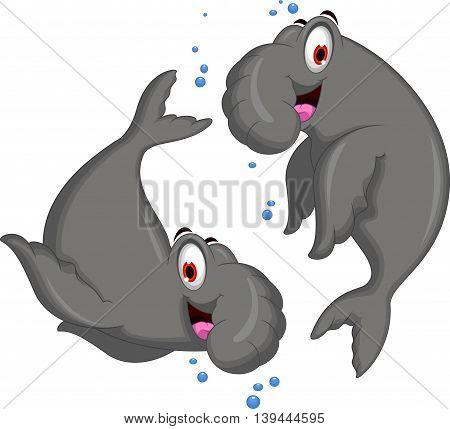 cute couple of Bull Elephant Seal cartoon