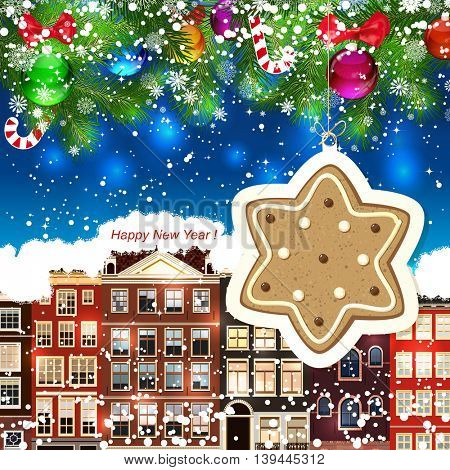Ginger star on the background of snow-covered streets. New Year design background. Falling snow.  Holiday illustration with place for text.