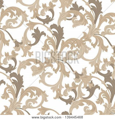 Vector damask pattern ornament. Exquisite Baroque template. Classical luxury fashioned damask ornament Royal Victorian texture for textile wrapping. Almond beige color ornament