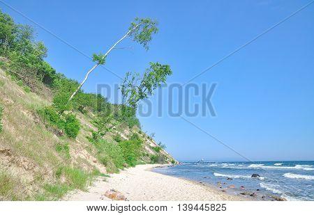coastal Landscape on Ruegen Island near Sellin at baltic Sea,Mecklenburg western Pomerania,Germany