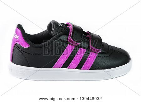 Varna Bulgaria - July 20 2016 :ADIDAS shoes. Isolated on white. Product shots. Adidas is a German multinational corporation that designs and manufactures sports shoes clothing and accessories