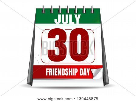 30 July - date of the International Friendship Day celebrations. Calendar with the date of July 30. Friendship Day design. Vector illustration