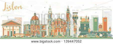 Abstract Lisbon Skyline with Color Buildings. Business Travel and Tourism Concept with Historic Buildings. Image for Presentation Banner Placard and Web Site.