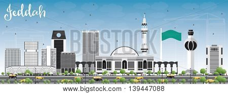 Jeddah Skyline with Gray Buildings and Blue Sky. Business Travel and Tourism Concept with Modern Buildings. Image for Presentation Banner Placard and Web Site.