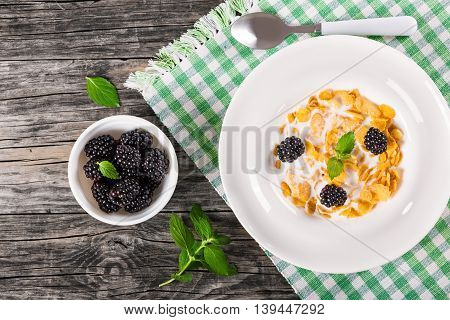 tasty corn flakes with milk and blackberry in a white dish with spoon on table napkin on an old rustic tableview from above bowl with dewberry and mint leaves on background