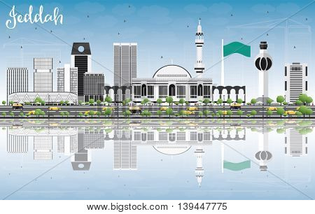 Jeddah Skyline with Gray Buildings, Blue Sky and Reflections. Business Travel and Tourism Concept with Modern Buildings. Image for Presentation Banner Placard and Web Site.