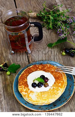 Tasty Pancakes Stack with Currant Studio Photo