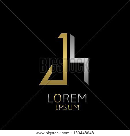 Golden J and silver S letters logo template for your business company