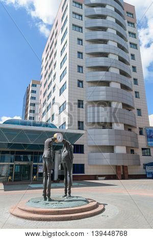 Orel, Russia - June 23, 2016: First in Russia sculptural monument for Official and Businessmen on the square in front of the 5-Star Hotel