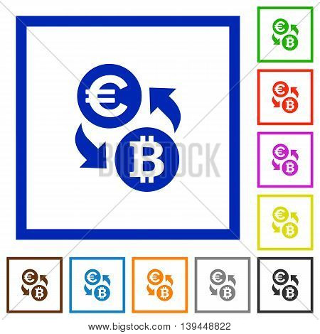 Set of color square framed Euro Bitcoin exchange flat icons