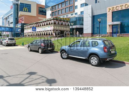 Orel, Russia - June 23, 2016: Renault cars on parking near the Tourist multifunctional shopping center
