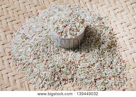 Brown rice on a bamboo mat, sabah Borneo