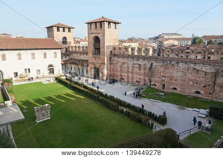 Verona Italy - Febuary 20 2016: Castelvecchio Museum a museum located in the eponymous medieval castle. The museum displays a collection of sculpture statues ancient weapons and others.