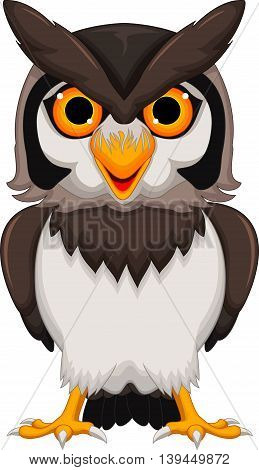 Cute owl cartoon standing for you design