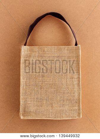 Hessian eco bag on brown eco background