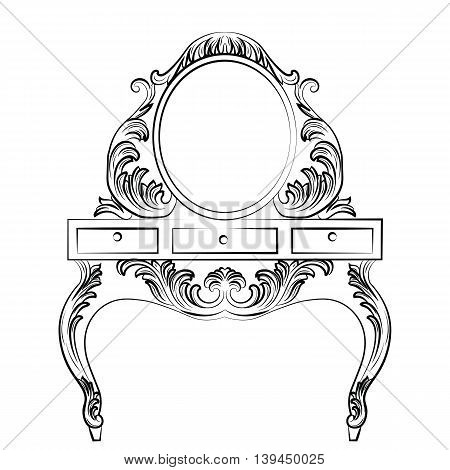 Vector Baroque furniture Dressing Table and Round mirror frame. French Luxury rich carved ornaments furniture. Victorian Royal Style furniture