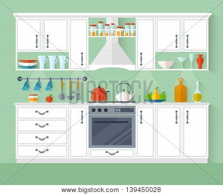 Kitchen interior design in a flat style. Room with furniture and equipment. Vector illustration.