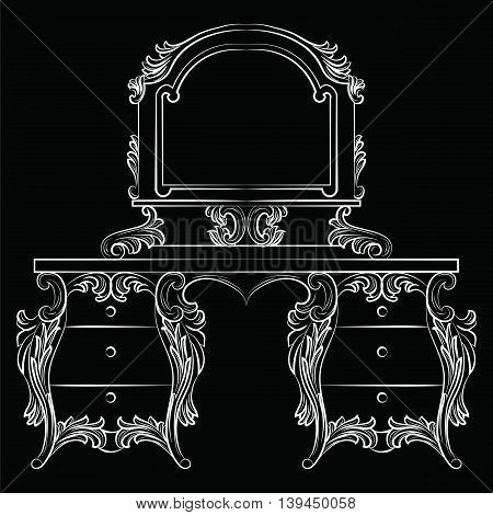 Vector Baroque furniture Dressing Table and mirror frame. French Luxury rich carved ornaments furniture.Victorian Royal Style furniture. White on black
