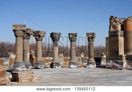 Ancient columns of Zvartnots (celestial angels) temple,Armenia,Central Asia,unesco heritage site