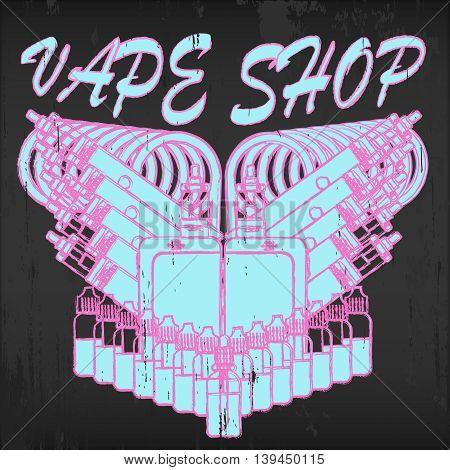 Vintage vector emblem of vape shop on blackboard background. Logo for vape shop. Illustration of electronic cigarette.