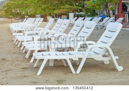 Sunbed Or Chair On The Tropical Beach