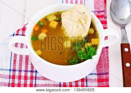 Broth of Turkey Fillet, Croutons on the White Boards