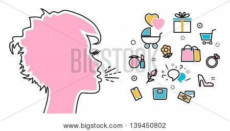 Flat line illustration of woman shouts and talk about their favorite interests wanted dream idea desire wish. Website blog banner infographic elements logo icon and thought process
