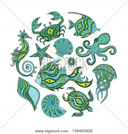 Set of cartoon marine animals. Hand drawing marine life. Round frame of sea animals sea horse fish shells crab turtle jellyfish starfish sea urchin octopus Vector illustration