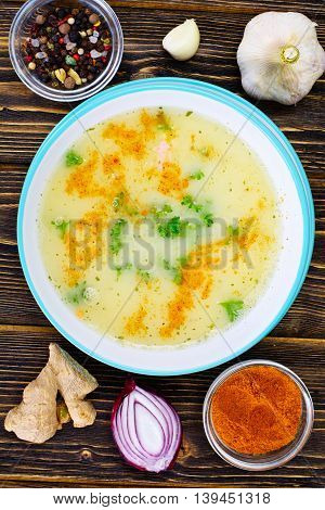Cream Soup with Curry Sauce, Hot Pepper Red. Studio Photo