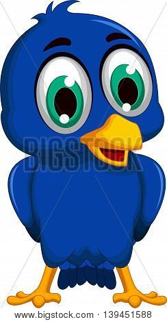 cute blue bird cartoon posing for you design