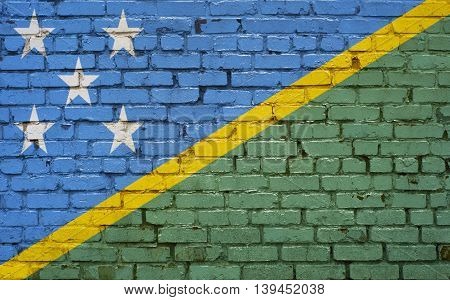 Flag of Solomon Islands painted on brick wall background texture