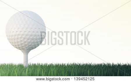 White golf ball on tee in green grass isolated on white backgorund., 3d illustration