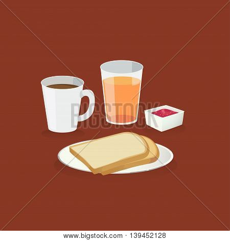 Breakfast : coffee orange juice and bread and a bowl jam