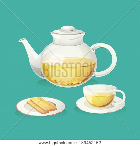 Chrysanthemum tea in teapot with glass and biscuit.