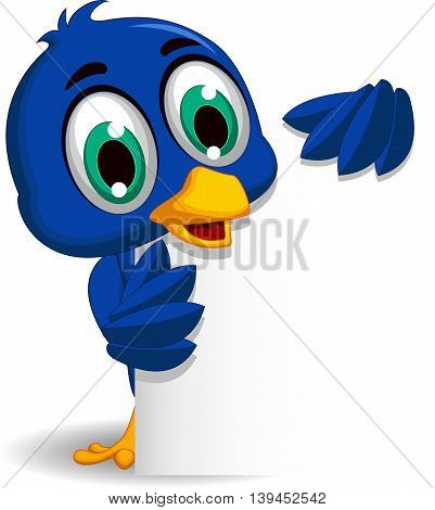 cute blue bird cartoon holding blank sign