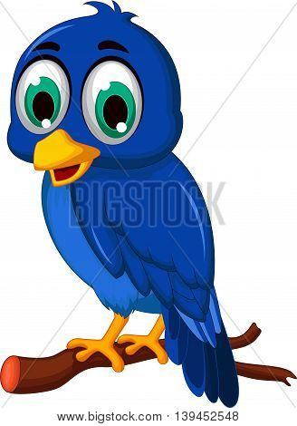 cute blue bird cartoon standing on the branch