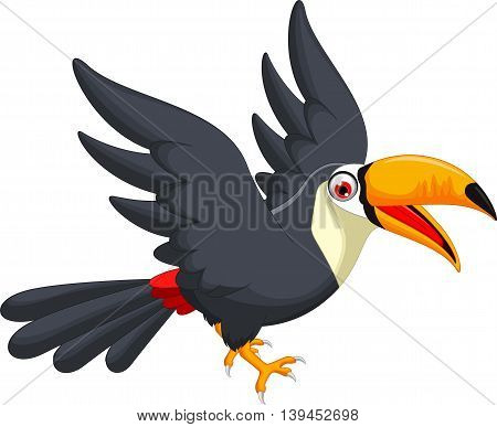 Cute cartoon toucan bird flying for you design