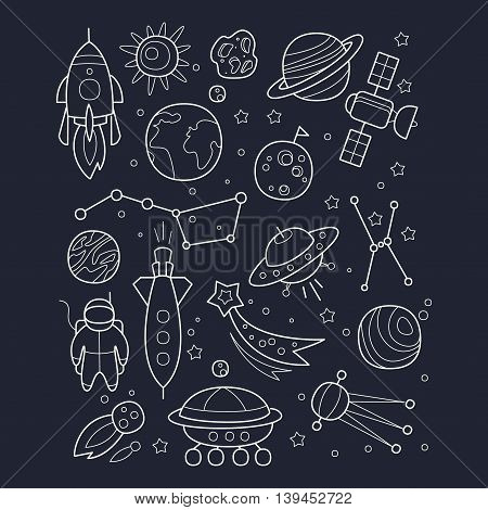 Space And Cosmic Objects Black And White Wallpaper With Contour Drawings In Childish Cartoon Style On Black Background