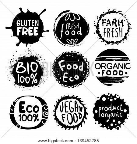 Organic Bio Food Black And White Set Of Product Logo Design. Cool Flat Vector Design Template On White Background