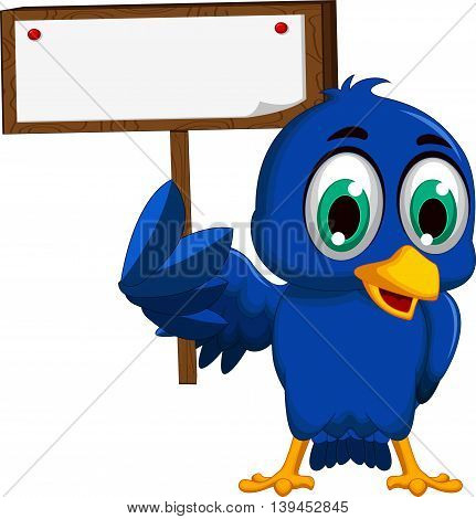 cute blue bird cartoon holding blank board