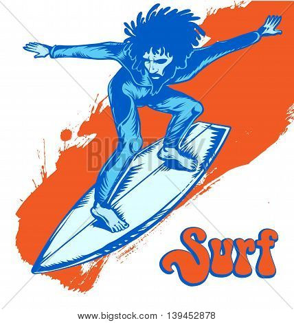 surfer on wave isolated on white  background